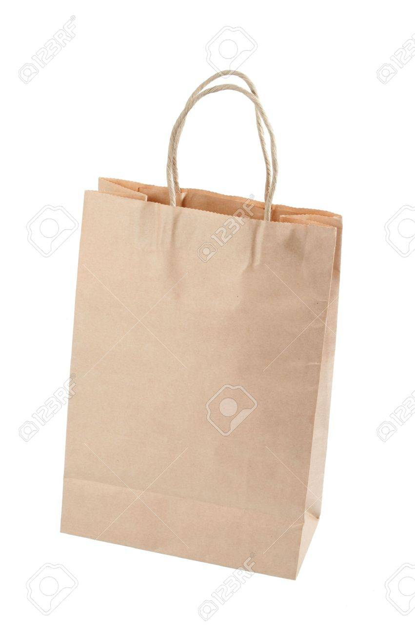 Brown paper carrier bag isolated over white background Stock Photo - 6828332