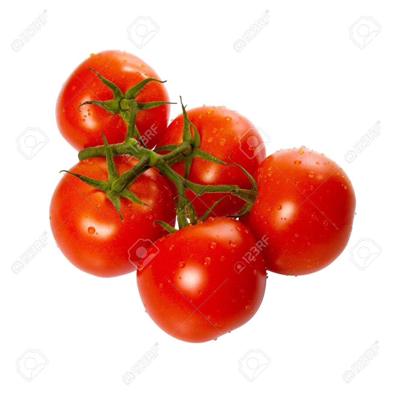 Ripe Trusse Tomatoes isolated over white background Stock Photo - 7118915