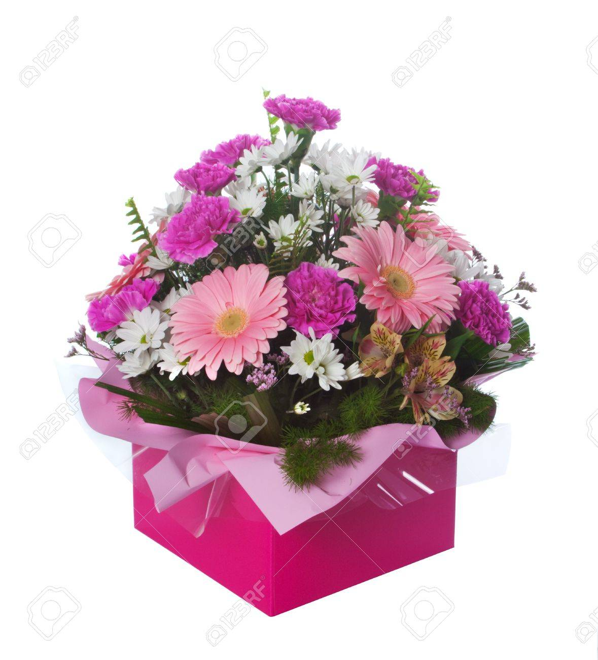 Beautiful pink themed floral arrangement in presentation box isolated over white background. Stock Photo - 7162804