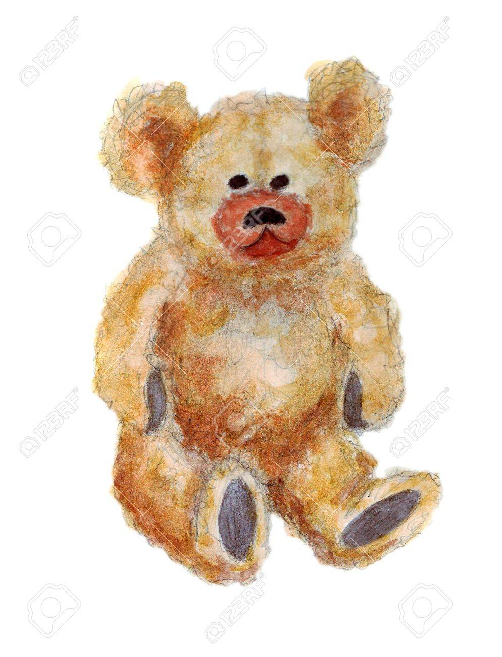 Watercolor artwork of a cute fluffy teddy bear over white background Stock Photo - 7162818