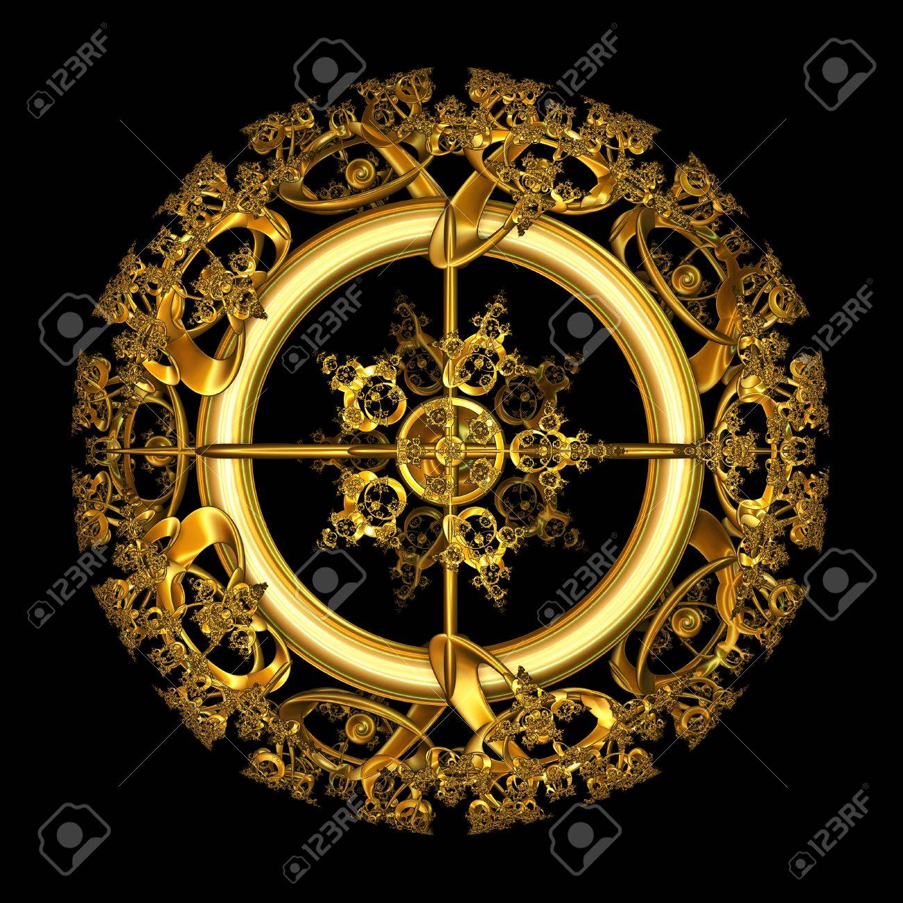 An illustration of an elegant antique gold filigree design in a circular shape isolated over black background. Stock Illustration - 8530193