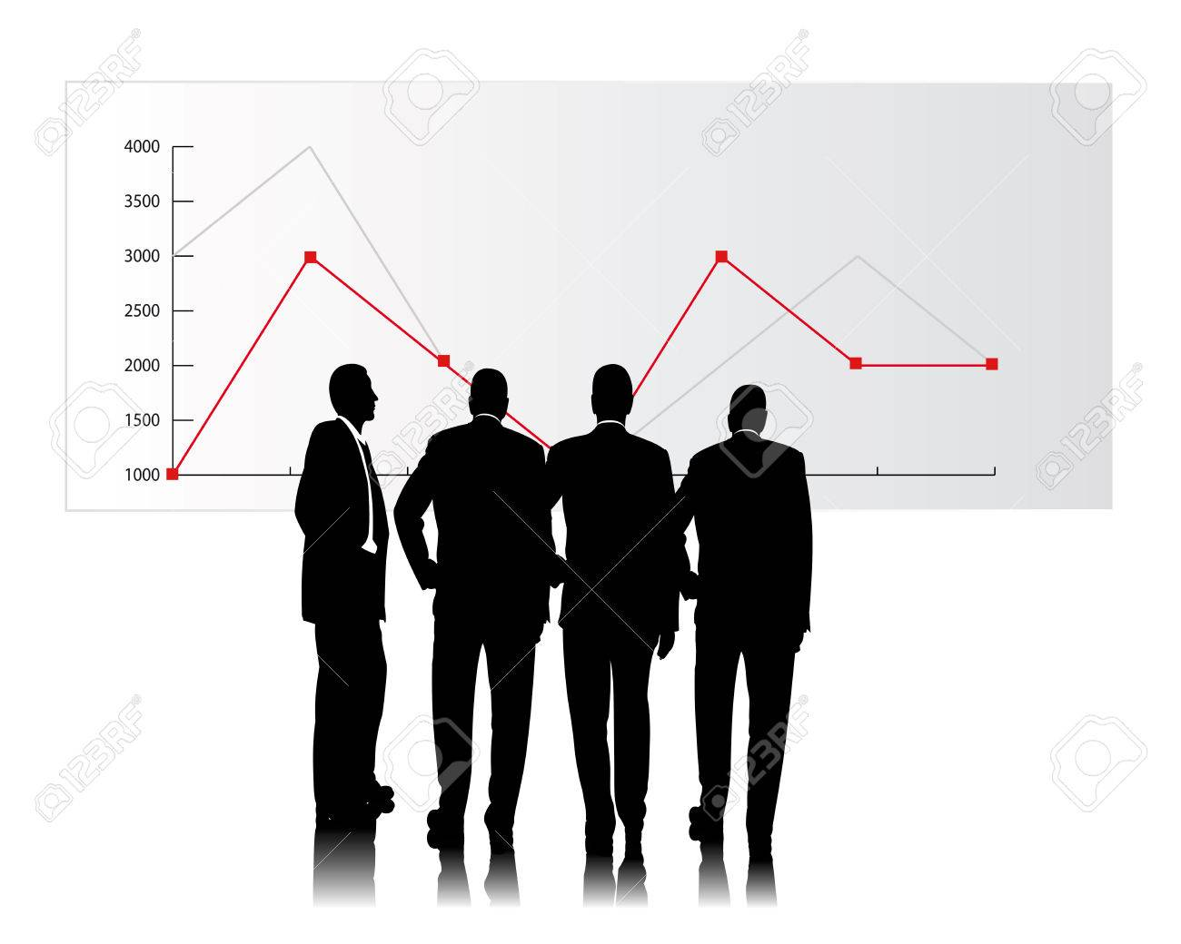 business people consider a sales chart Stock Vector - 4675978