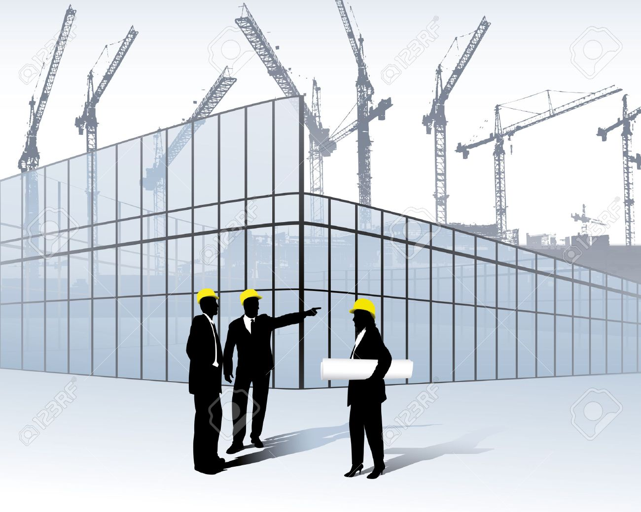 Architects On A Construction Site Stock Vector   6509245