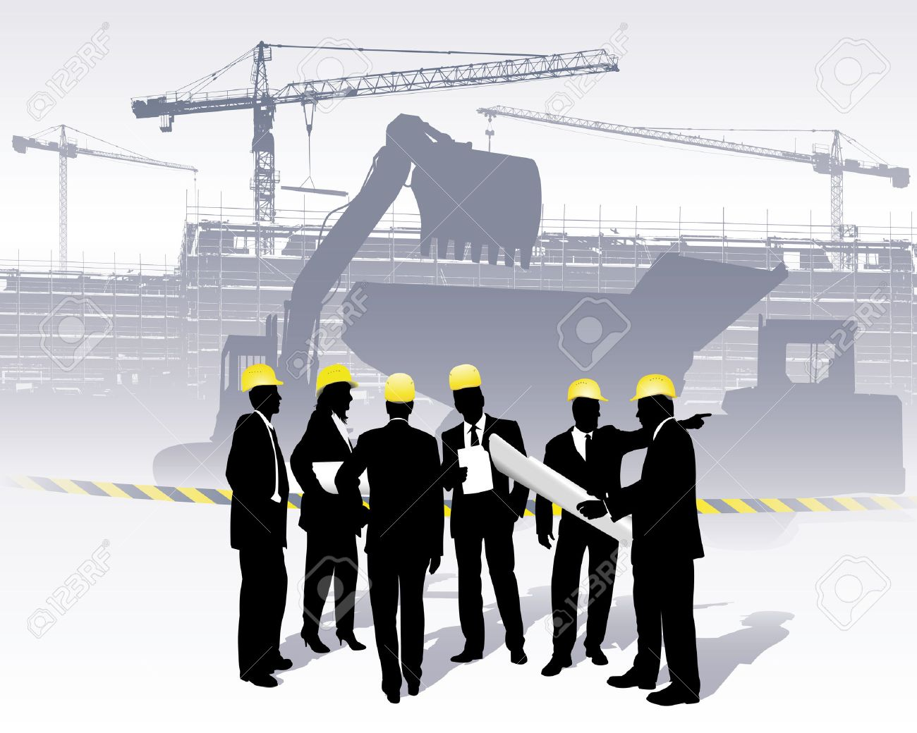 architects on a construction site Stock Vector - 6509247