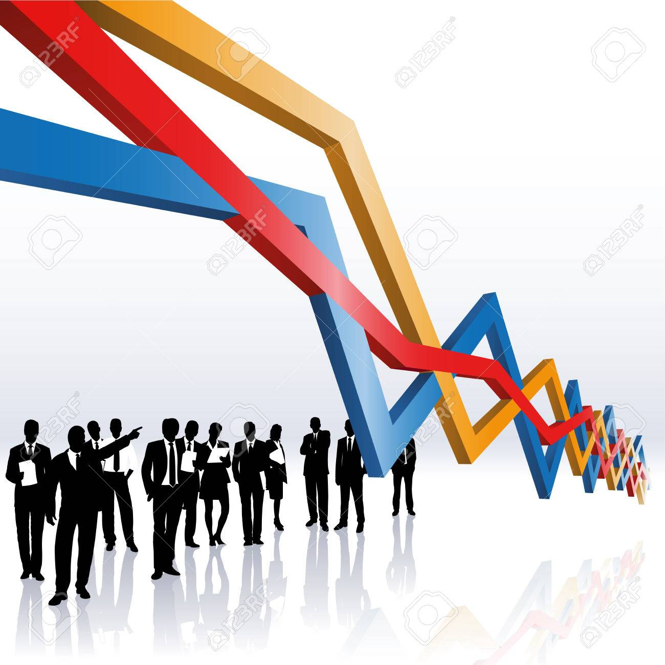 business people and a sales graph Stock Vector - 8891467