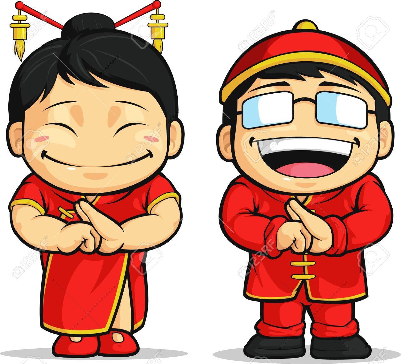 cartoon of chinese boy girl royalty free cliparts vectors and