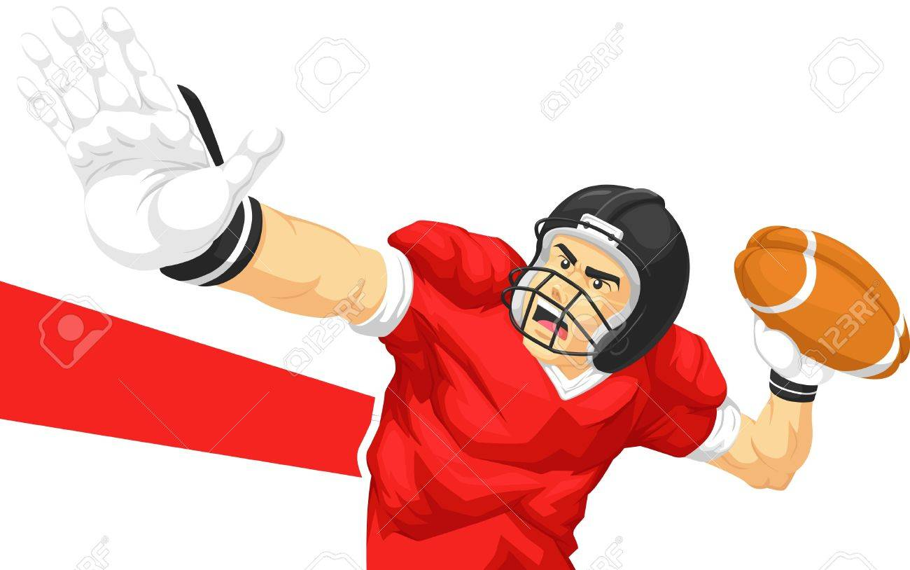 Football Player Quarterback Throwing Ball Royalty Free Cliparts