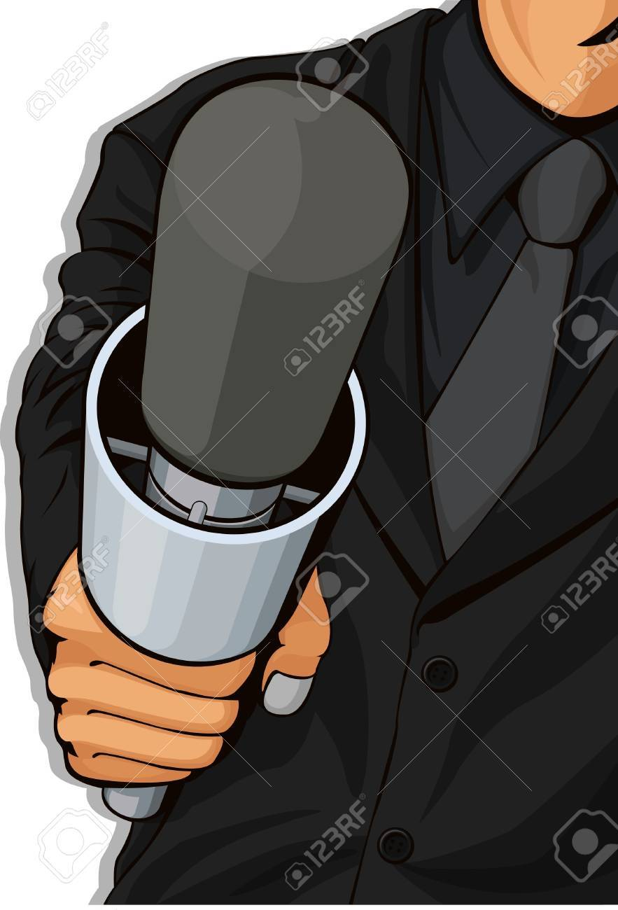 Host Holding Microphone Stock Vector - 16899875