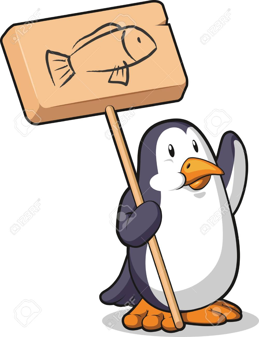 Penguin Holding a Wooden Sign Stock Vector - 16899889