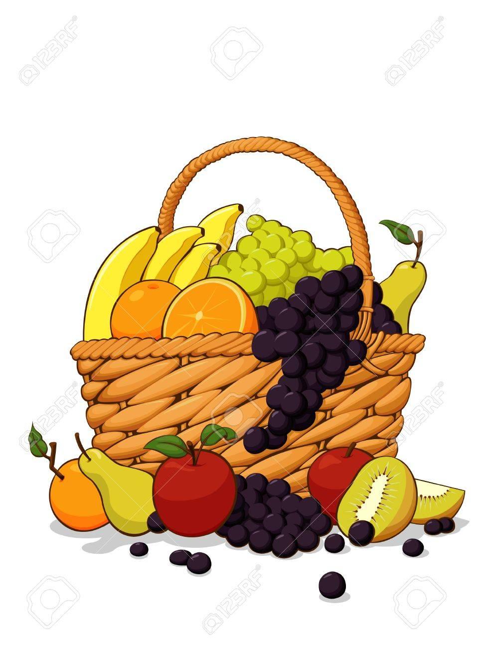 Vettoriale Varieta Di Frutta Fresca In Cestino Di Legno Image