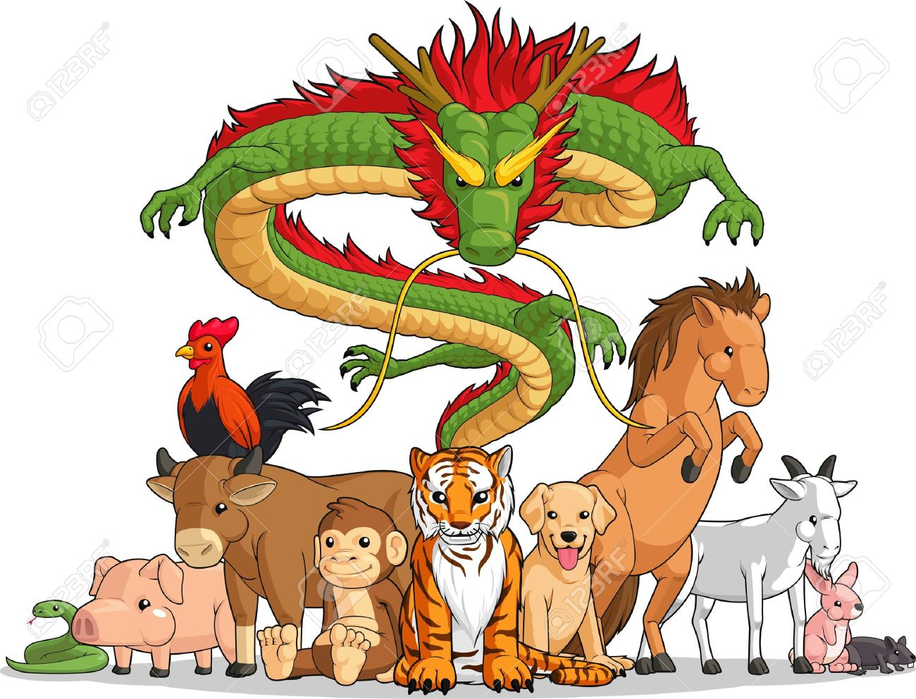 All 12 Chinese Zodiac Animals Together Royalty Free Cliparts ...