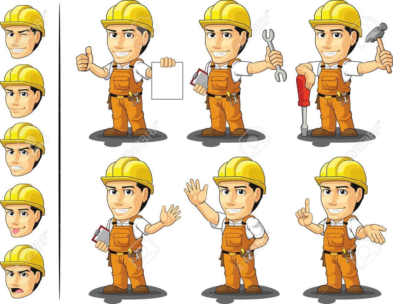 Industrial Construction Worker Mascot - 18758869