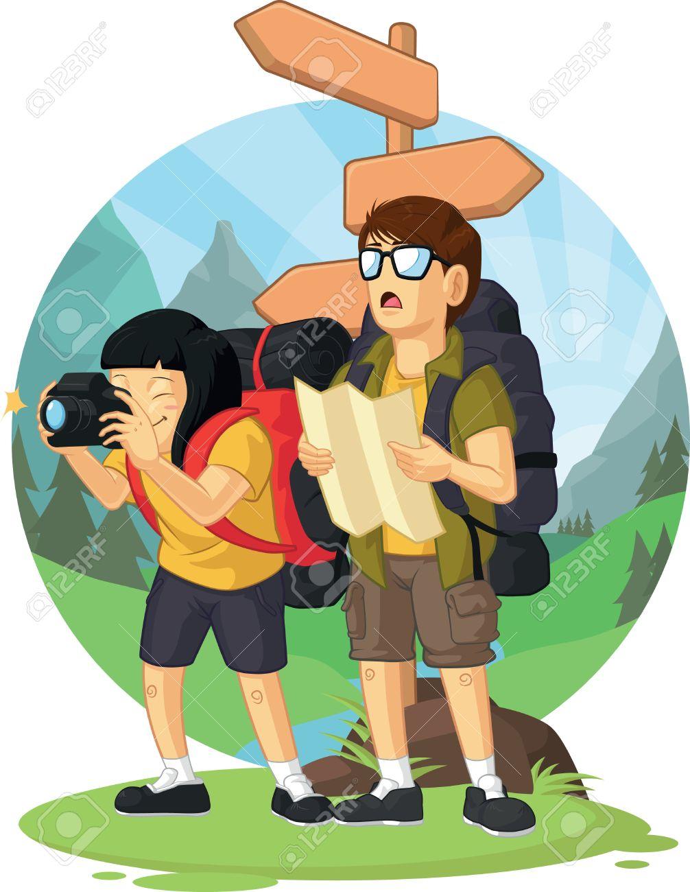 Backpacker Cartoon Image
