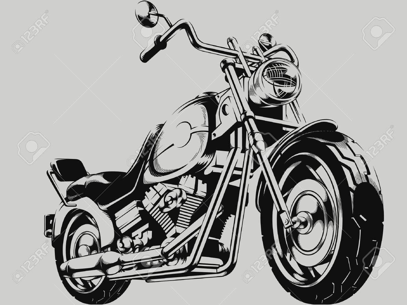 Vintage Motorcycle Vector Silhouette - 44847396