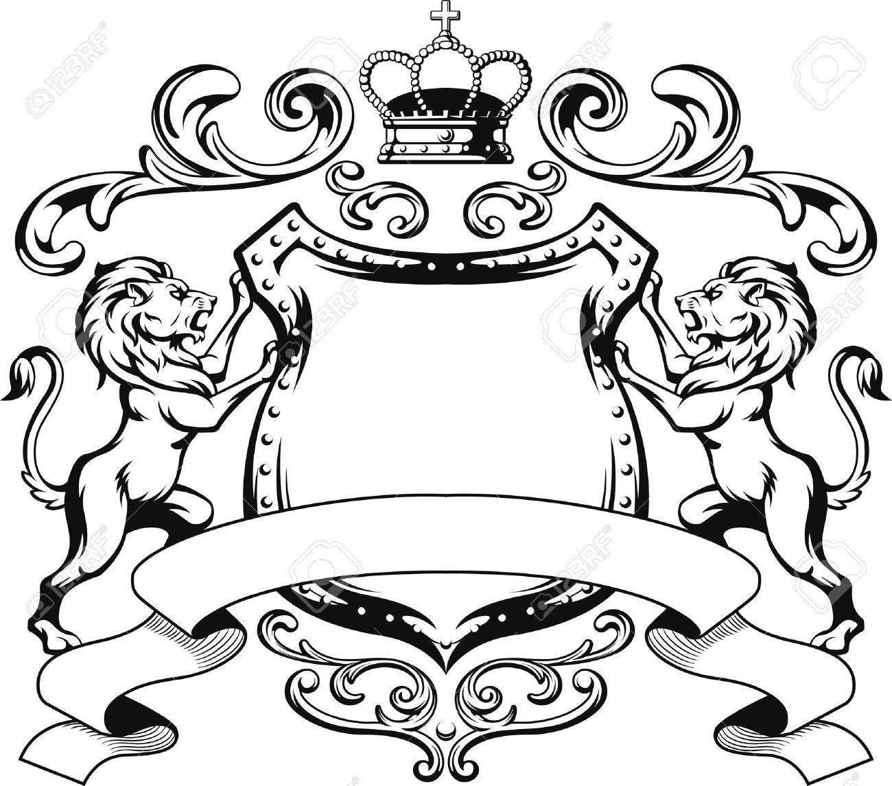 Heraldic Lion Shield Crest Silhouette - 45286208