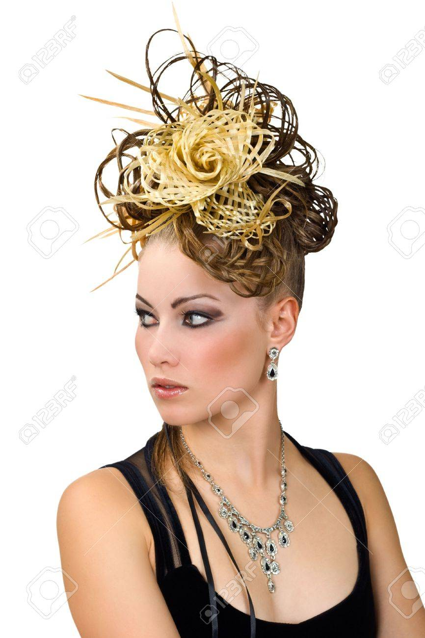 Coiffure Of The Woman For Evening Ball Isolated Over White
