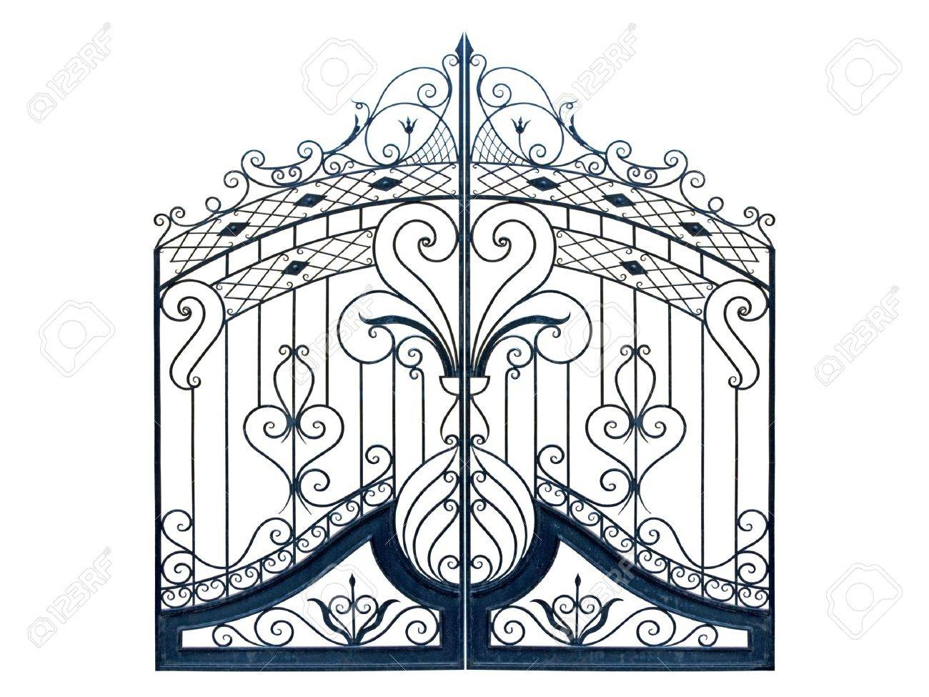 Old-time forged decorative gates. Isolated over white background. Stock Photo - 8175090