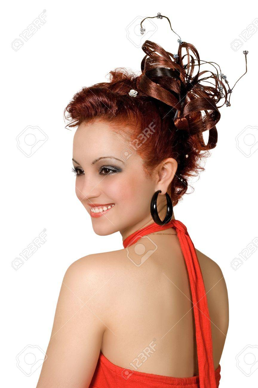 Coiffure Of The Young Woman For A Disco Stock Photo Picture And