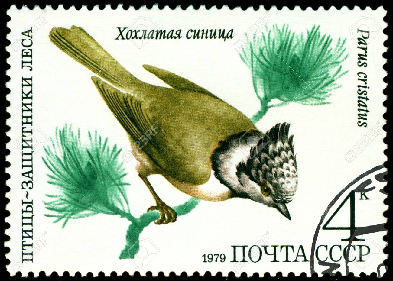 RUSSIA - CIRCA 1979 : A stamp printed by Russia shows bird an tomtit �Parus cristatus� from the series �Birds - a protectors wood�, circa 1979 Stock Photo - 9285507