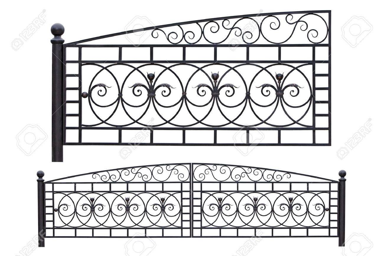 Modern light, forged, decorative gates.  Isolated over white background. Stock Photo - 9467379
