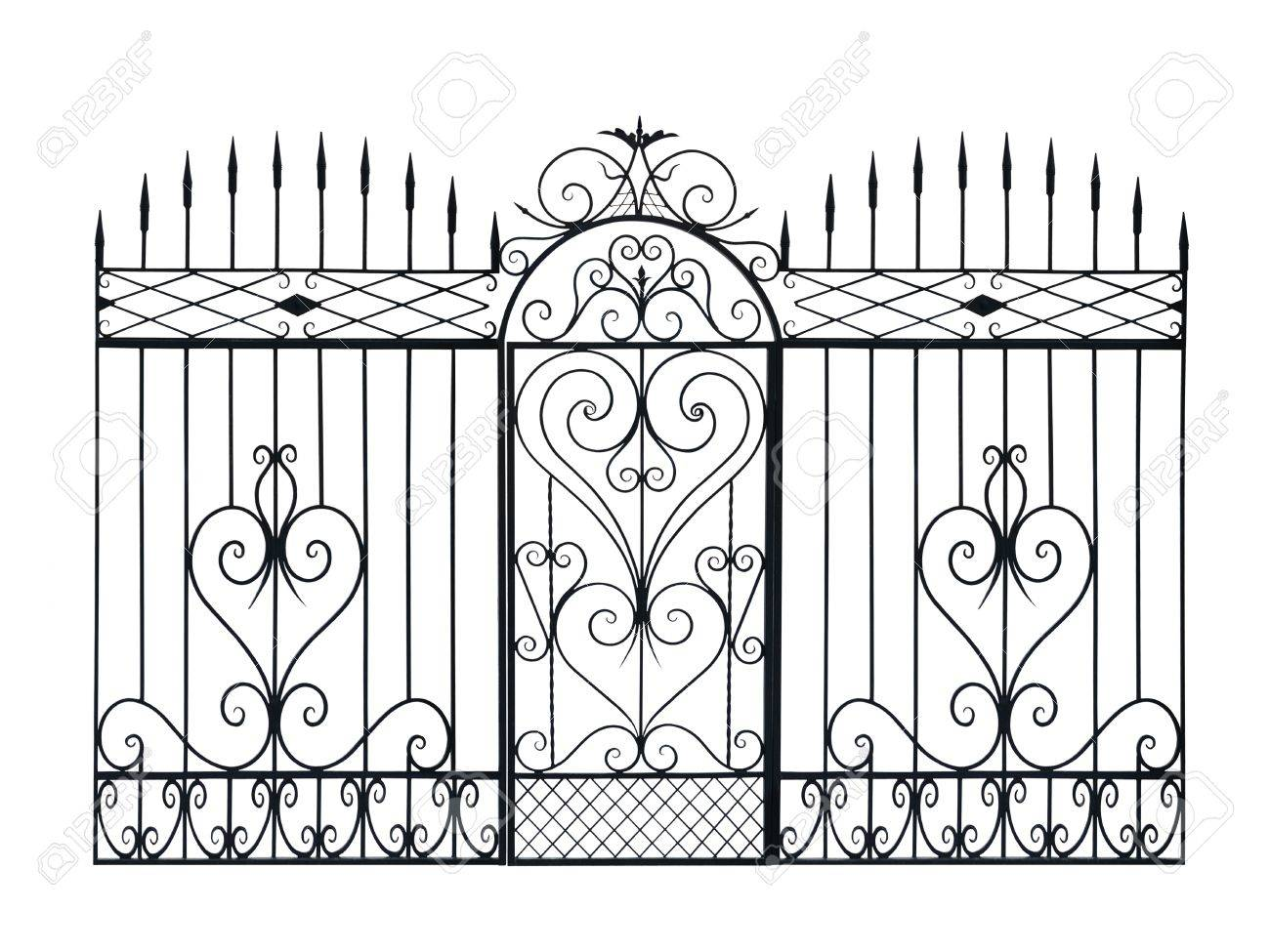 Old forged fence and door  decorated by ornament. Isolated over white background. Stock Photo - 10493392