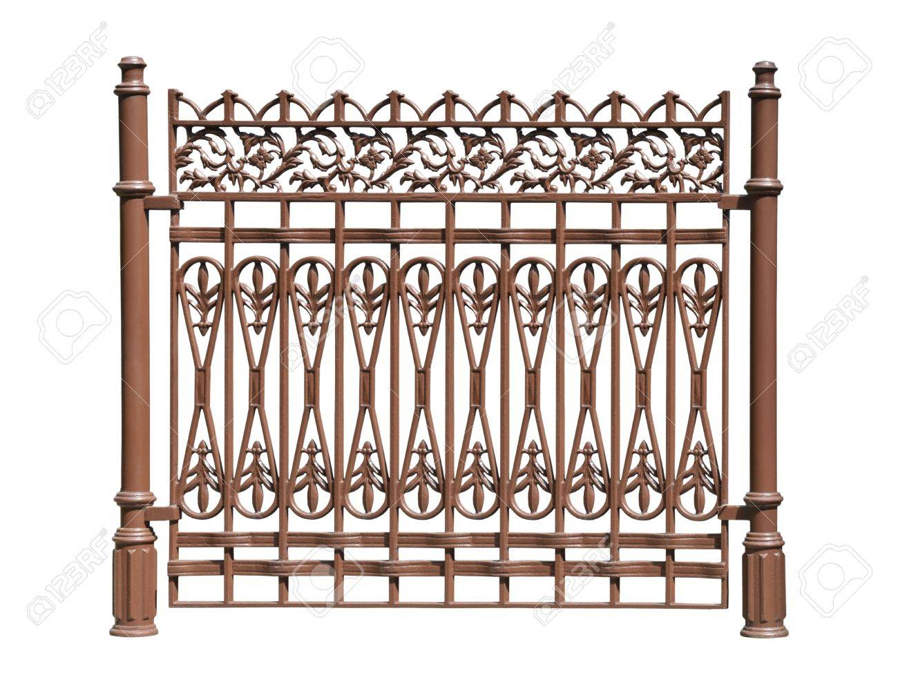 Old forged fence  decorated by ornament  Isolated over white background Stock Photo - 13733777