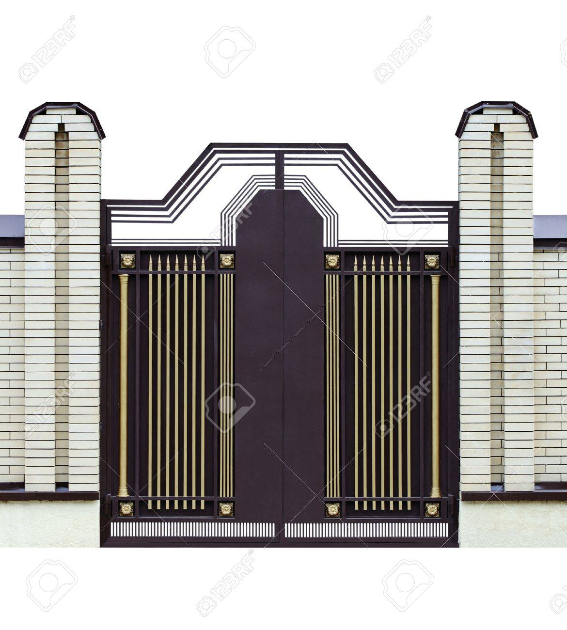 Modern  forged  decorative  gates   Isolated over white background Stock Photo - 13995067