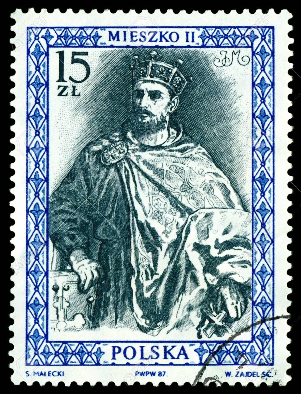 POLAND  - CIRCA 1987  a stamp printed by Poland shows portrait King Mieszko II  King of the Poland  990 - 1034 , circa 1987 Stock Photo - 14890056