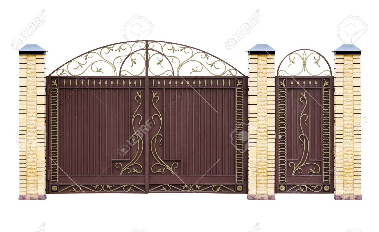 Modern  forged  decorative  gates for building   Isolated over white background Stock Photo - 17740130