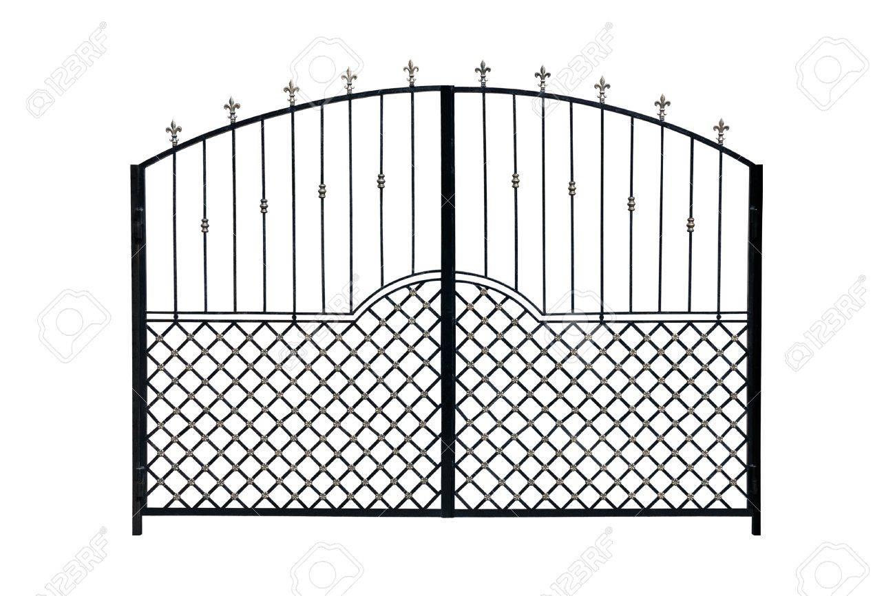 Modern  light  forged  decorative gates.  Isolated over white background. Stock Photo - 18648512