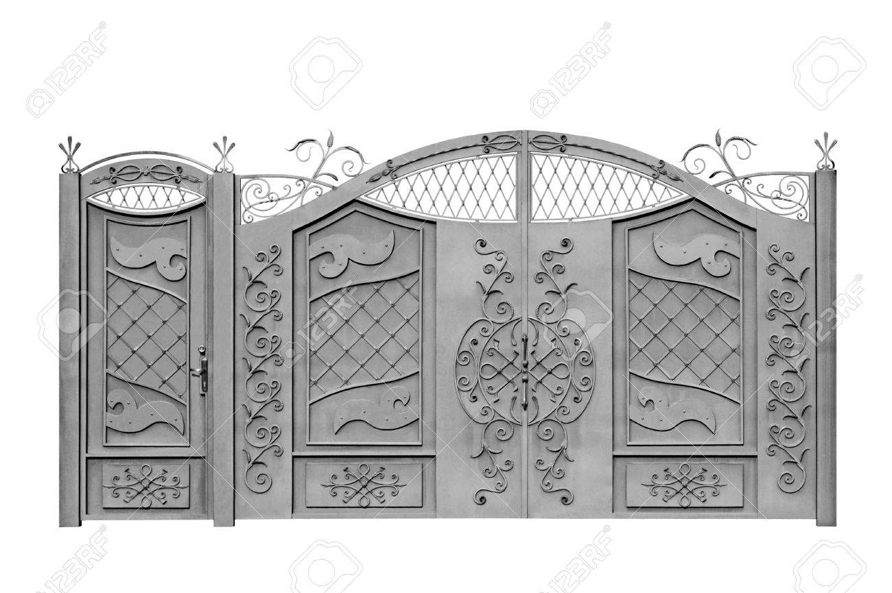 Forged decorative gates for manor  Isolated over white background
