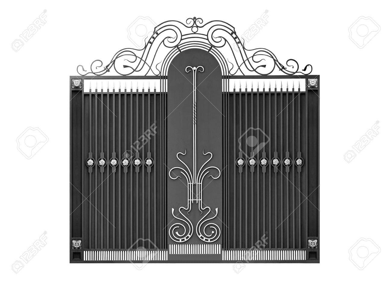Modern iron decorative gates  Isolated over white background