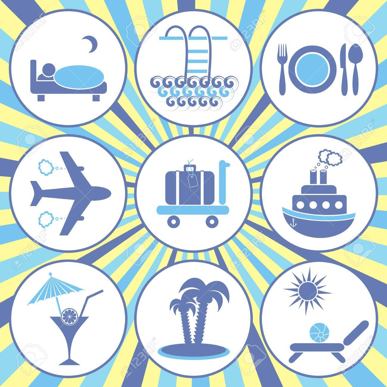 Set of nine blue travelling and accommodation icons on retro background Stock Vector - 22542182