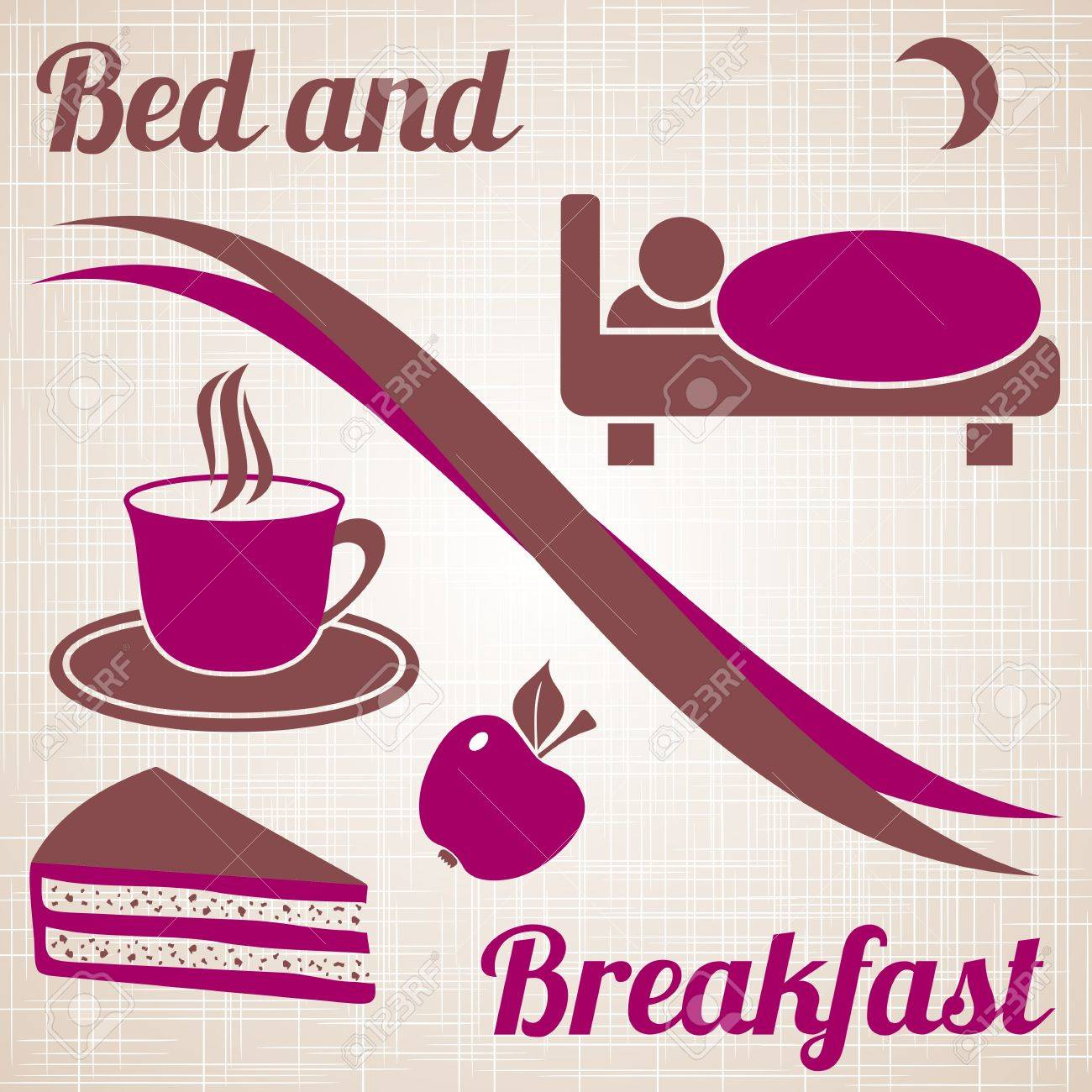 Wine-coloured bed and breakfast menu with text on light brown vintage background Stock Vector - 22560328