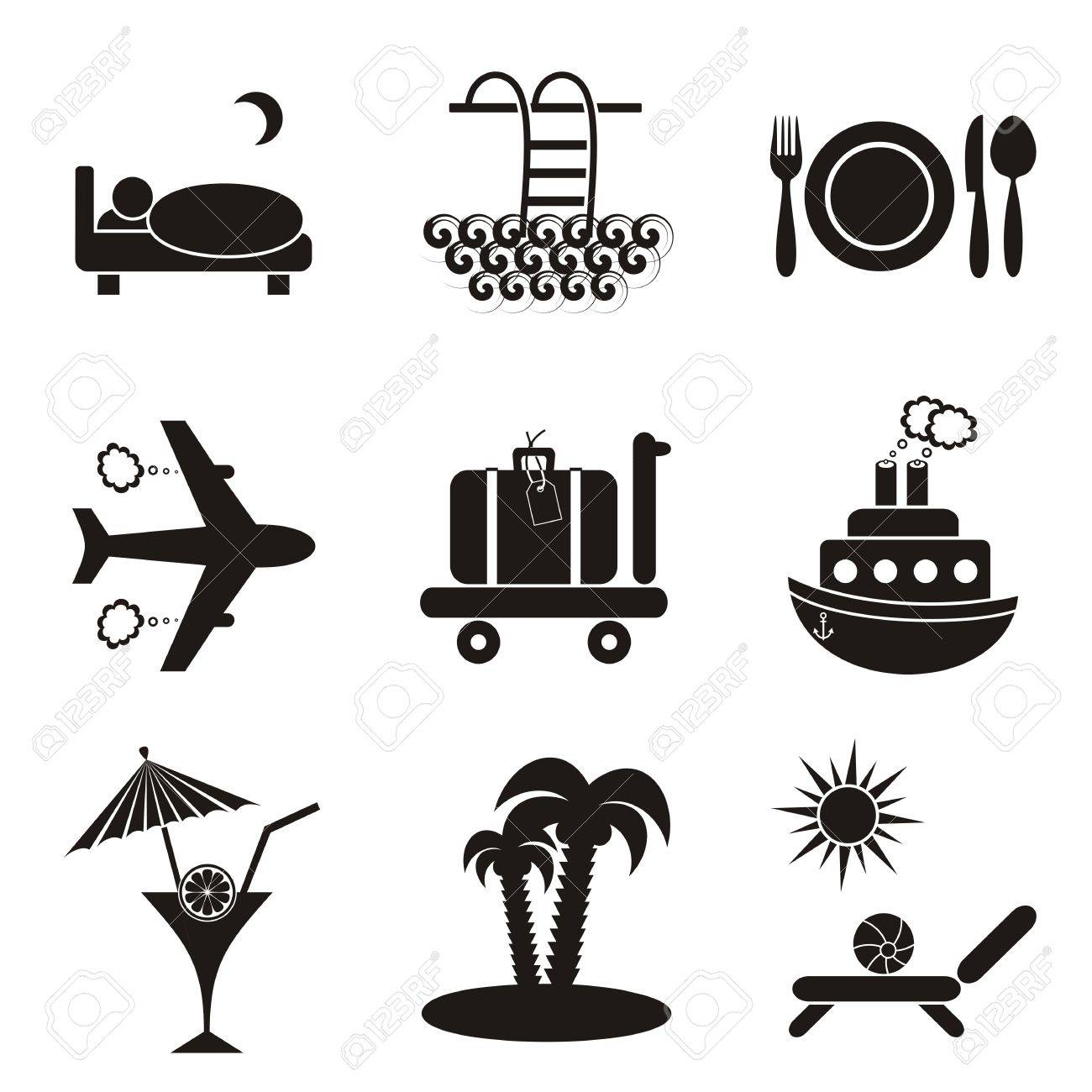 Set of nine black travelling and accommodation icons on stone-like background Stock Vector - 22560486