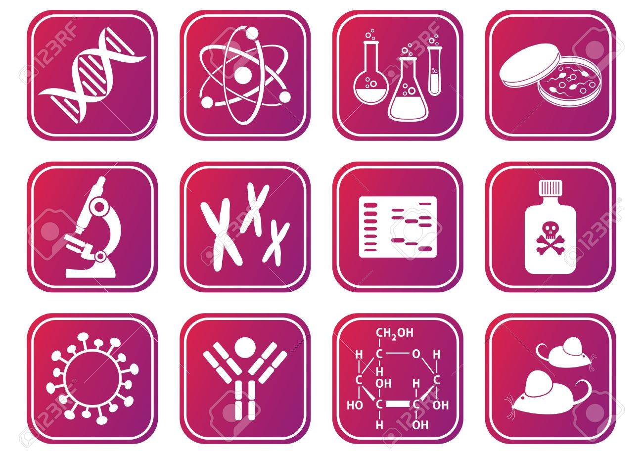set of red-violet molecular biology science icons Stock Vector - 22560489