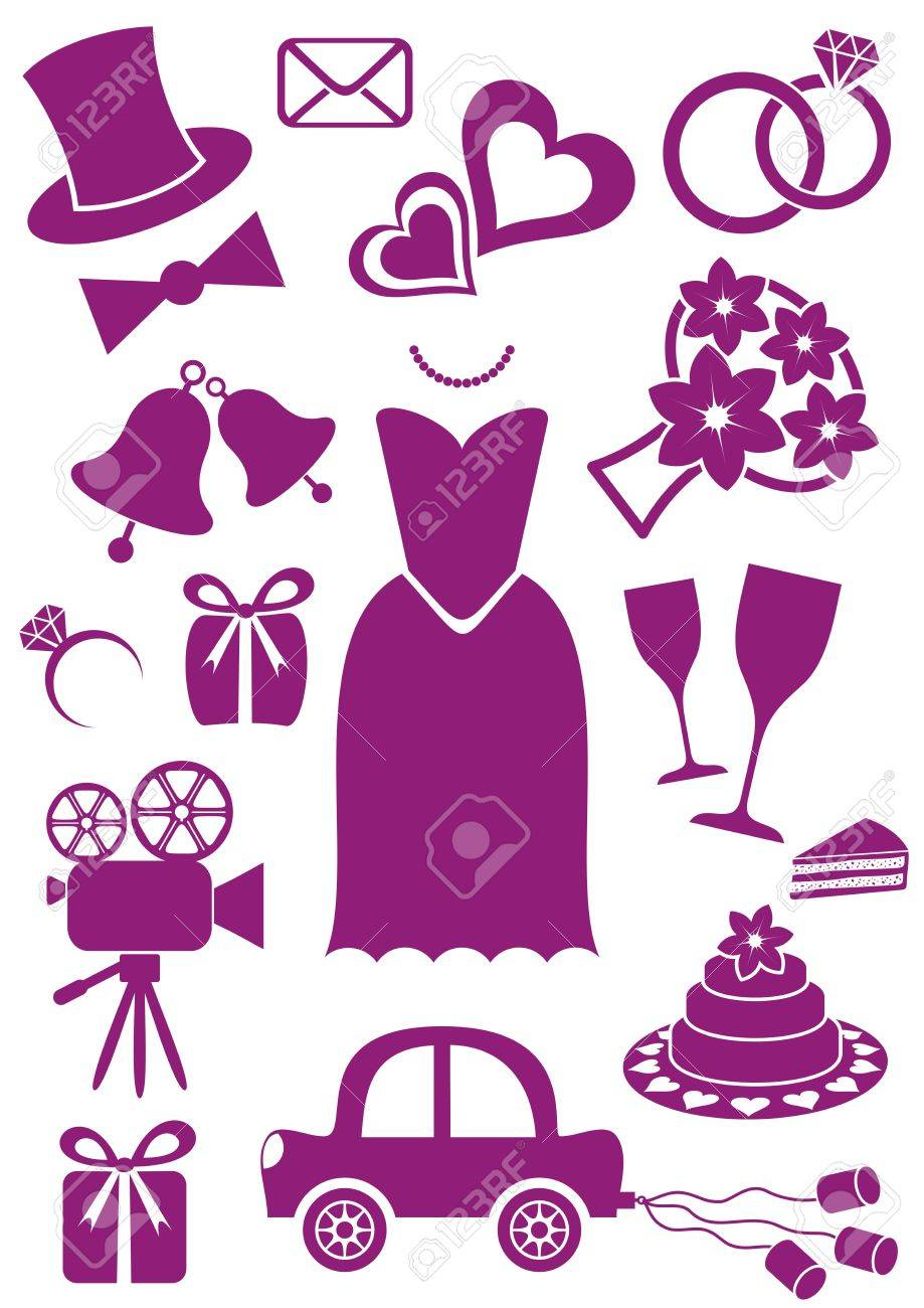 Set Of Violet Silhouette Icons For Wedding Cards And Invitations ...