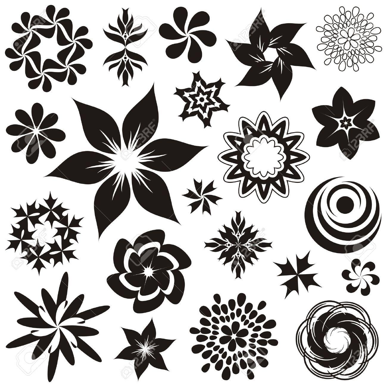 Conjunto De Símbolos Y Adornos De Flores En Blanco Y Negro Segundo