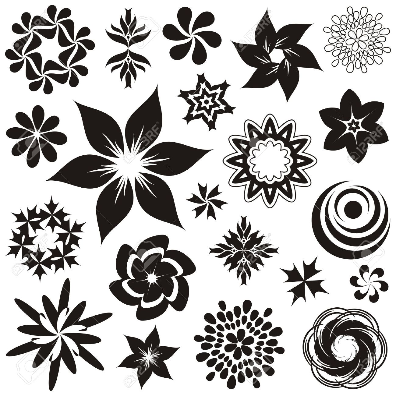 Set of black and white flower symbols and ornaments, second set Stock Vector - 22560710