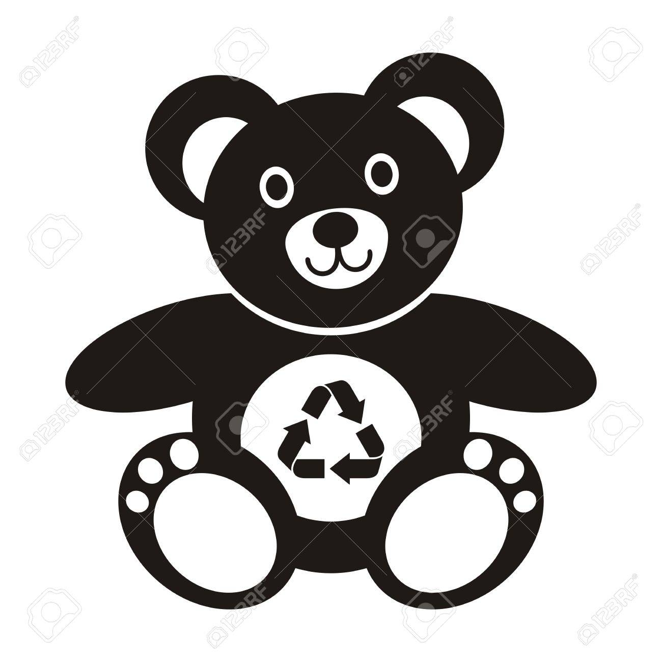 cute black teddy bear icon with recycling symbol on a white background royalty free cliparts vectors and stock illustration image 22774384 cute black teddy bear icon with recycling symbol on a white background