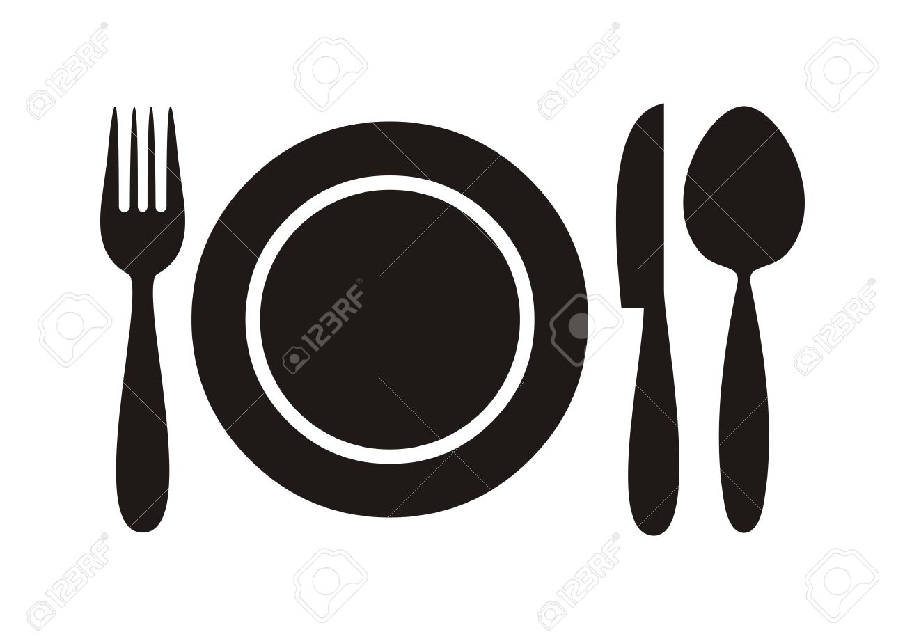 Black restaurant menu icon plate with cutlery isolated  sc 1 st  123RF.com & Black Restaurant Menu Icon Plate With Cutlery Isolated Royalty Free ...