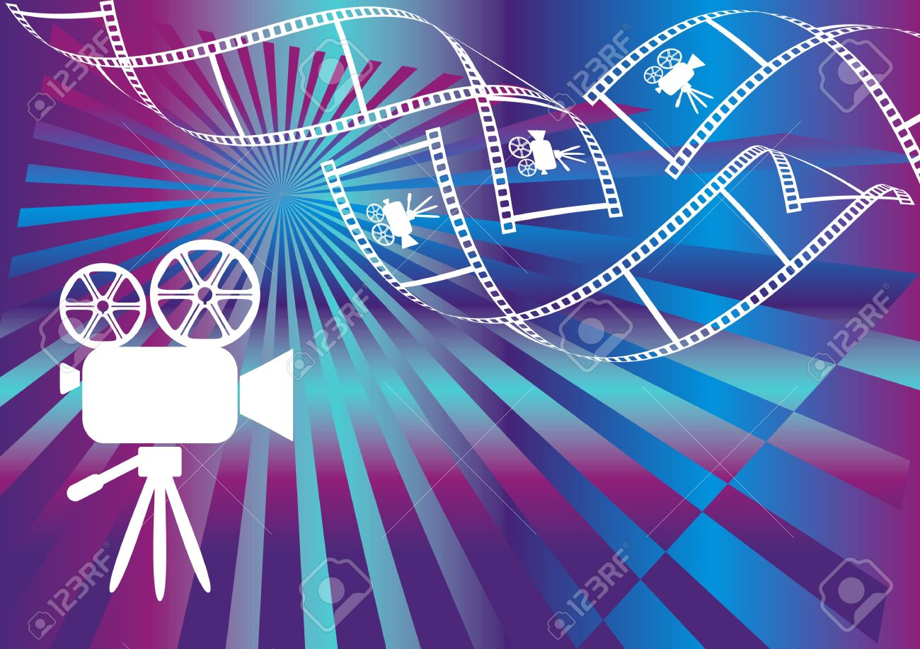 Shiny Background With Film Stripes And Movie Camera Royalty Free