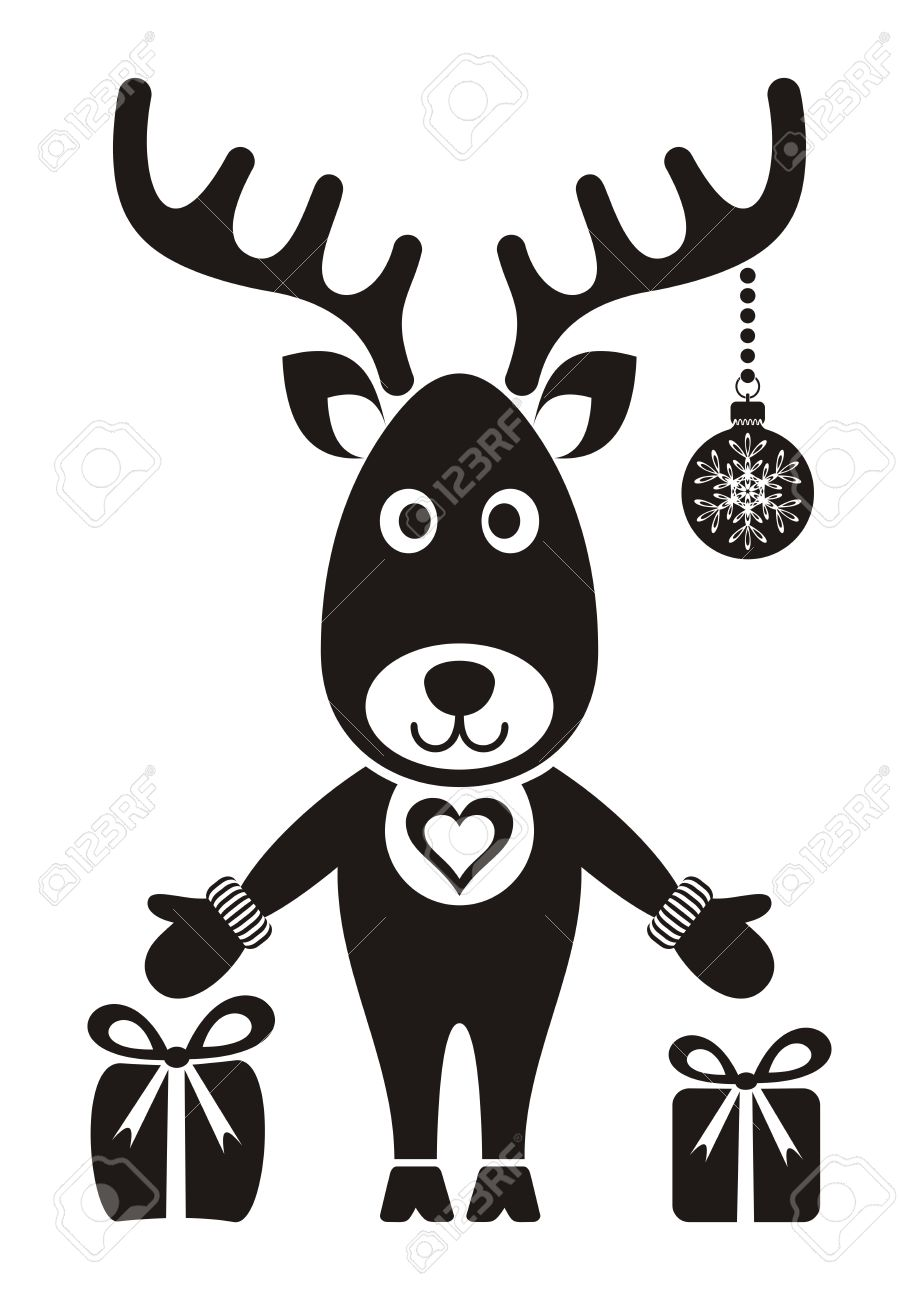 Mignon De Renne De Noël Avec Des Cadeaux Noir Sur Blanc