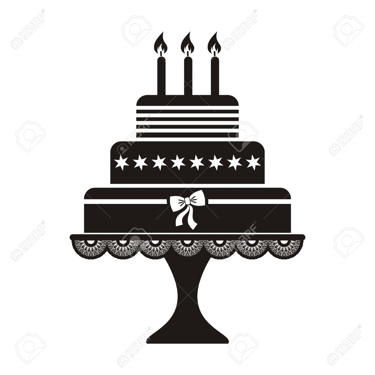 Vector Illustration Of Black Silhouette Birthday Cake Icon Royalty