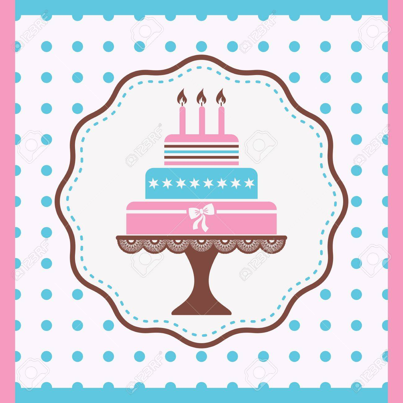 Beautiful Vintage Happy Birthday Card With Cake Stock Vector