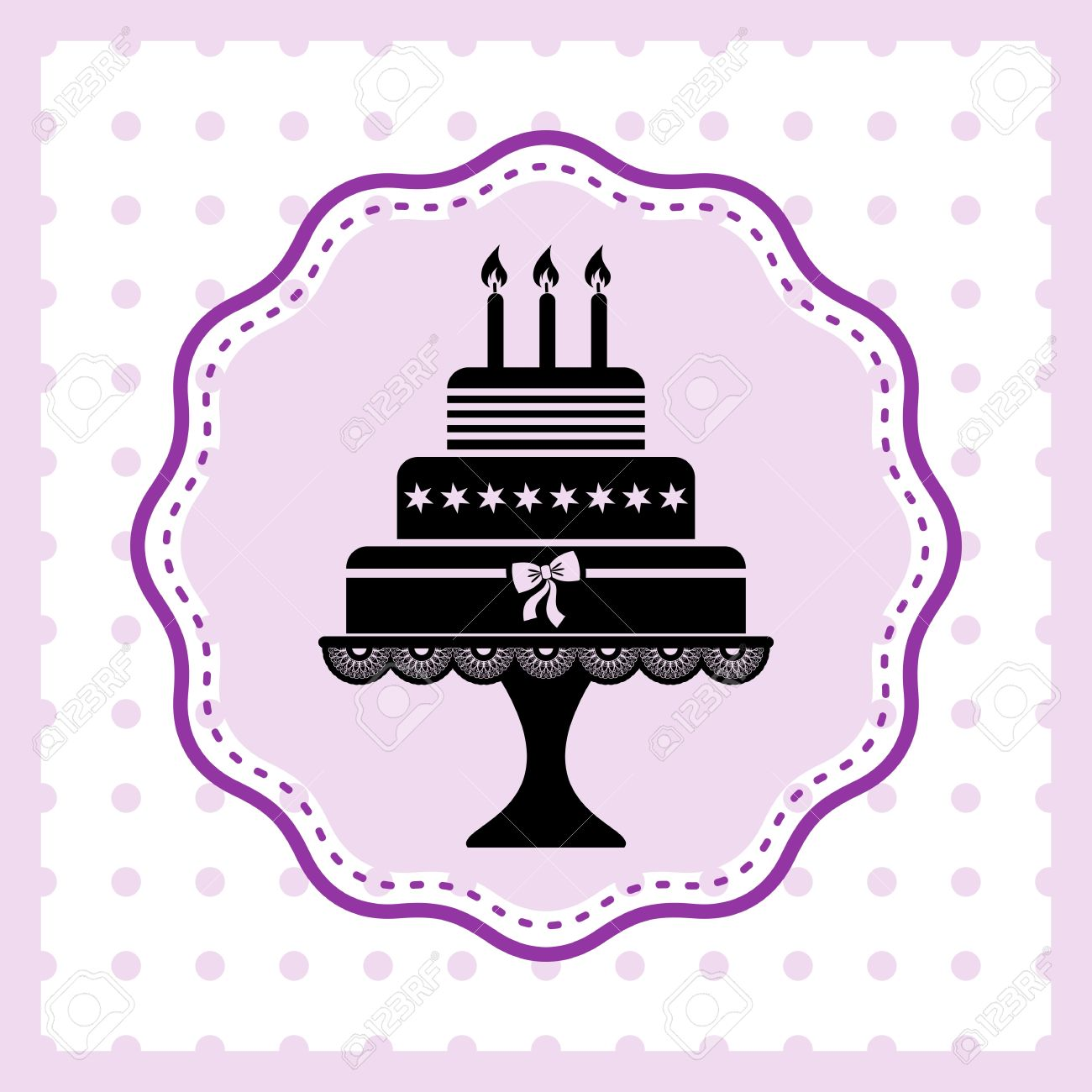 Beautiful Vintage Happy Birthday Card With Cake Silhouette Royalty