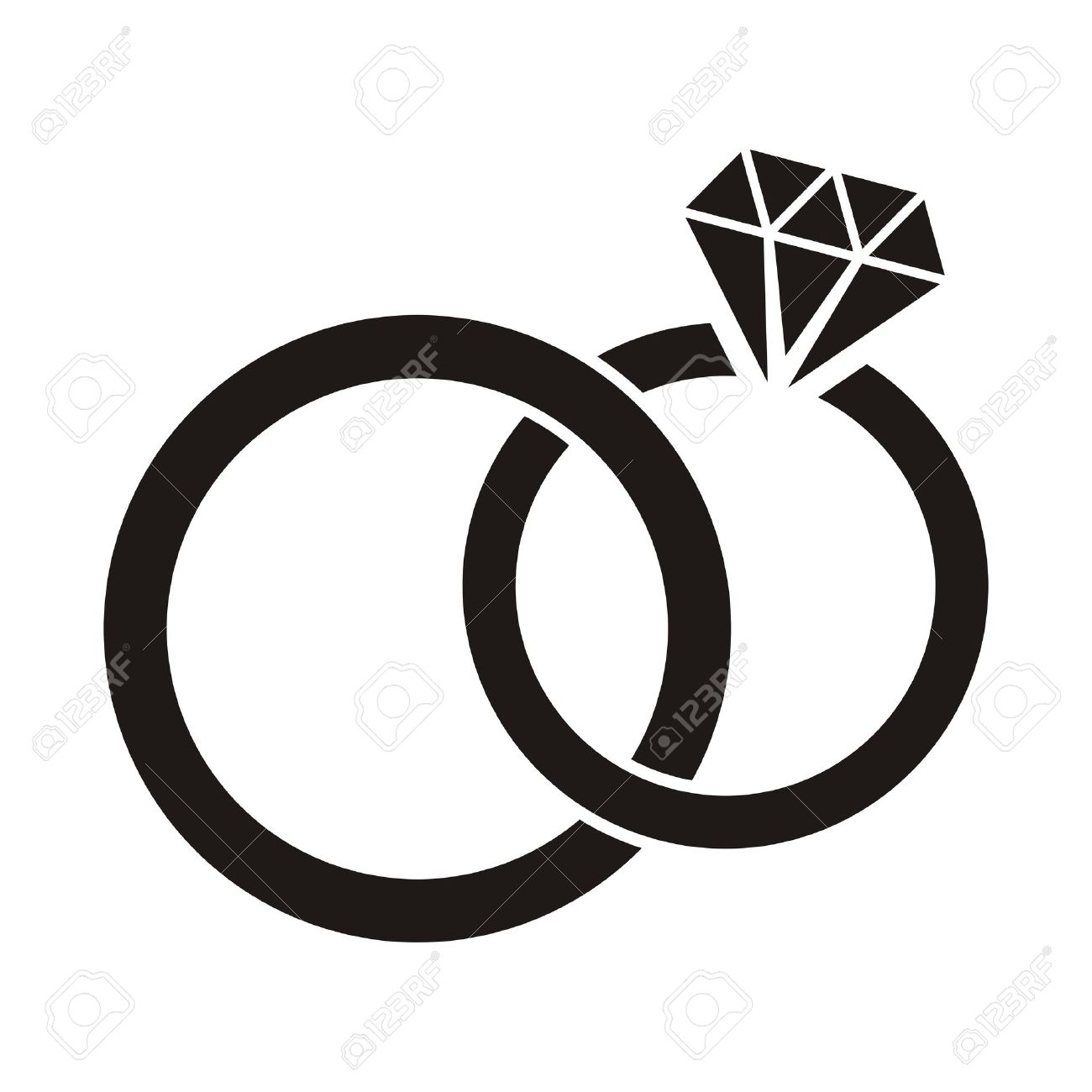 illustration black wedding rings icon on white background stock vector 26049612 - Black And White Wedding Rings
