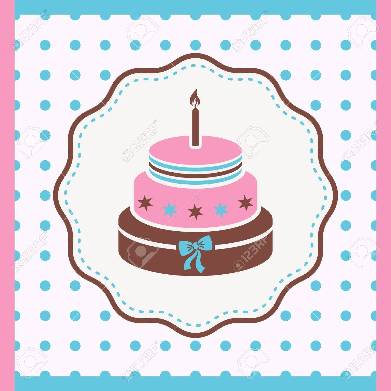 Vintage Card With Birthday Cake With One Candle Royalty Free