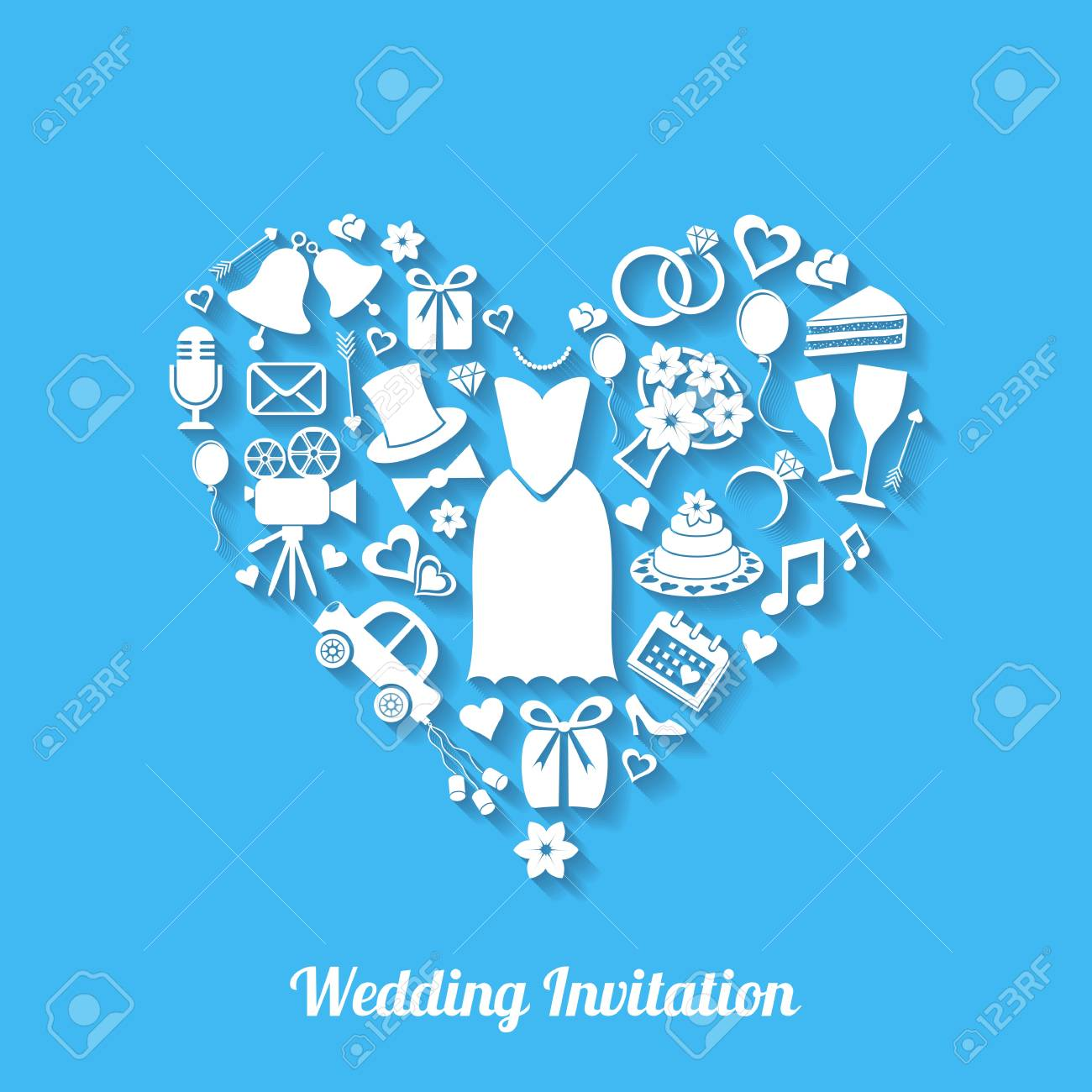 Blue vector invitation card with wedding design elements royalty blue vector invitation card with wedding design elements imagens 26491473 stopboris Gallery