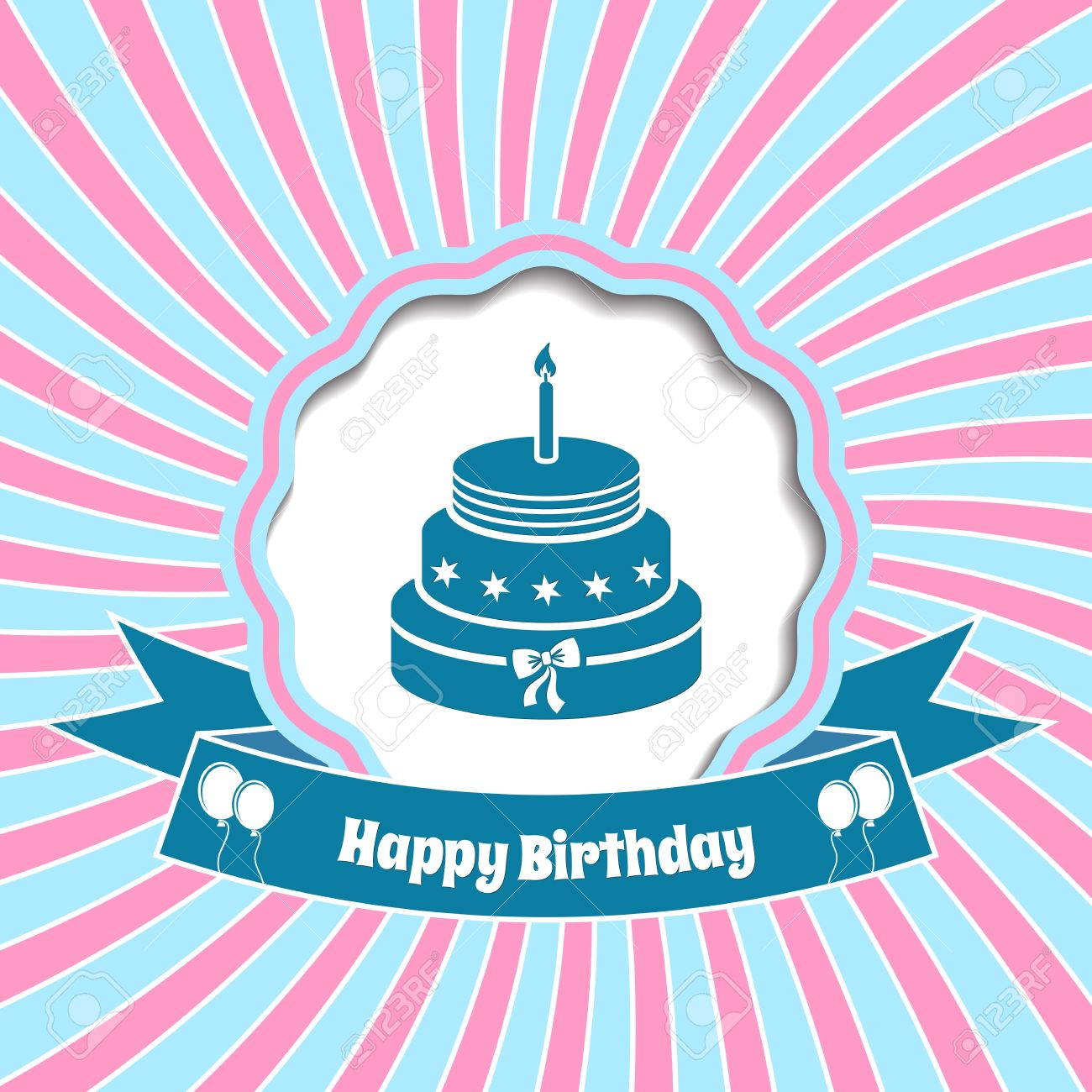 Happy birthday vector vintage card with sunrays background royalty happy birthday vector vintage card with sunrays background stock vector 27274523 bookmarktalkfo Image collections